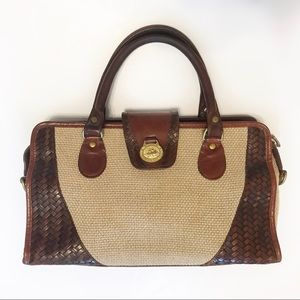Brahmin Straw and Leather Satchel